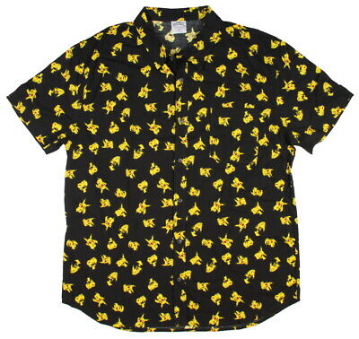 Pokémon Mens' Pikachu All-Over Print Button Up Shirt (2X)