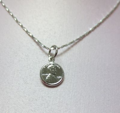 20 INCH 14KT WHITE GOLD EP 1mm SPARKLING TWISTED COBRA CHAIN w/ MINI PENNY CHARM
