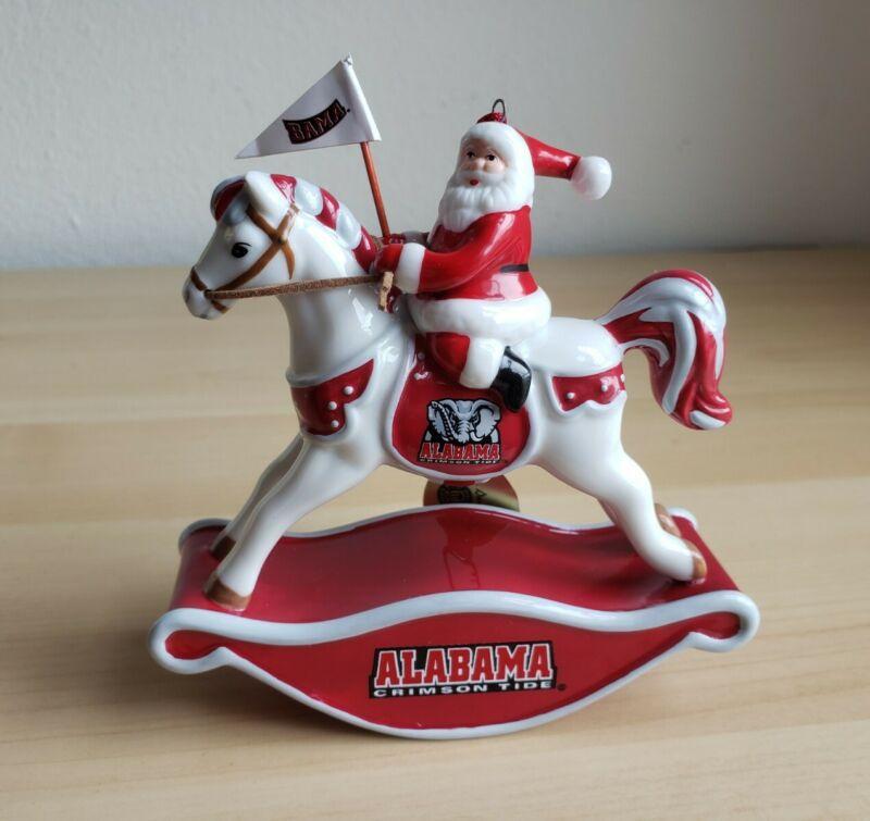 2006 Danbury Mint Alabama Football  Christmas Ornament Santa rocking Horse