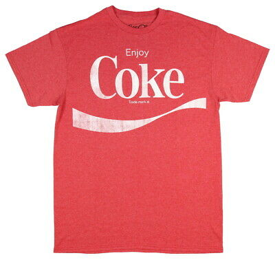 Coca Cola Men's Enjoy Coke Graphic T-Shirt (Red Heather, Large)