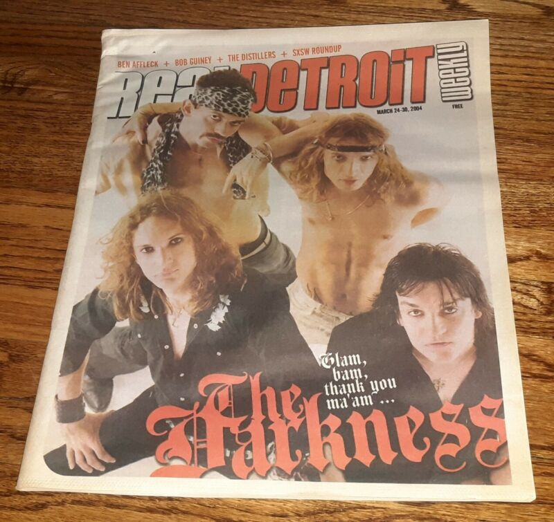 THE DARKNESS rock band VINTAGE Real Detroit Magazine Cover w full interview 2004