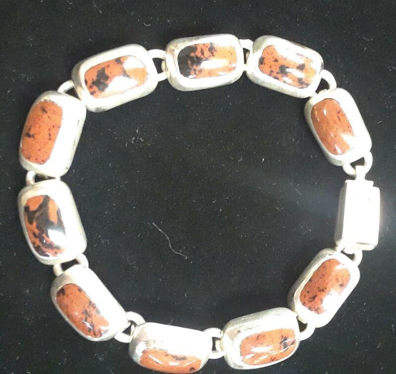 "Vintage 950 Sterling Silver  TT-51 Tiger Eye Bracelet ~ Mexico ~ 8""  *NICE*"