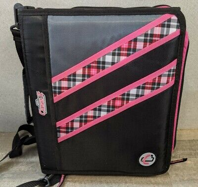 Case-it Z-binder Two-in-one 1.5-inch D-ring Zipper Double Sided Binder Pink