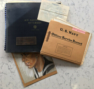 POST WW2 USNR NAVY RESERVE PILOT ARCHIVE DOCUMENT PATCH AIR NAVIGATION NOTEBOOK