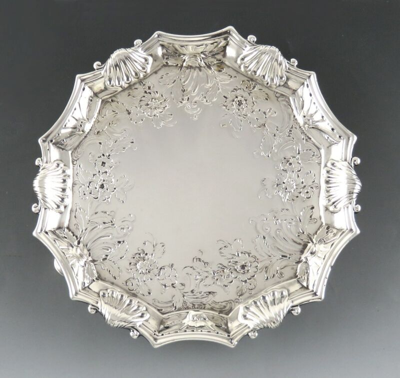Antique 1740 English Georgian Sterling Silver Card Tray Salver 18th Century