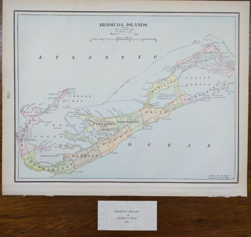 "Vintage 1900 BERMUDA Map 14""x11"" ~ Old Antique Original ST GEORGES HAMILTON"