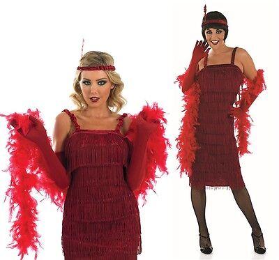 Damen Rote 1920er Jahre Gatsby Flapper Kostüm Kleid Outfit UK 8-30 Übergröße (1920er Jahren Flapper Kostüme Uk)