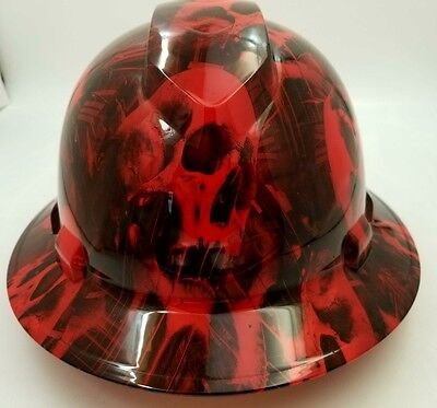 Full Brim Hard Hat Custom Hydro Dipped New Red Melting Skull Wicked Hot New