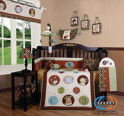 Baby Boutique Animal Scholar 13PCS Nursery CRIB BEDDING SET