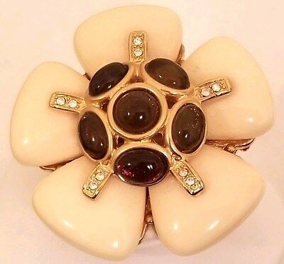 JOAN RIVERS Cream Flower + Tortoise Color Star PIN BROOCH CRYSTALS Sold Out