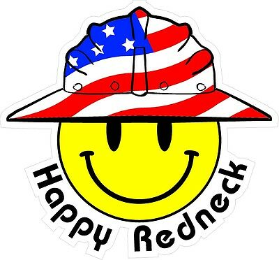 3 - Happy Redneck Smiley Usa Hardhat Oilfield Helmet Toolbox Sticker H884