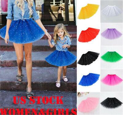 Layered Ballet Rainbow Tutu Skirt Casual Matching Dress for Women Girl Adult Kid