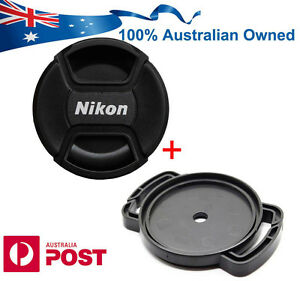 NIKON FIT LENS CAP FRONT SNAP ON 52mm 58mm 62mm 67MM 72MM 77MM + Buckle Holder