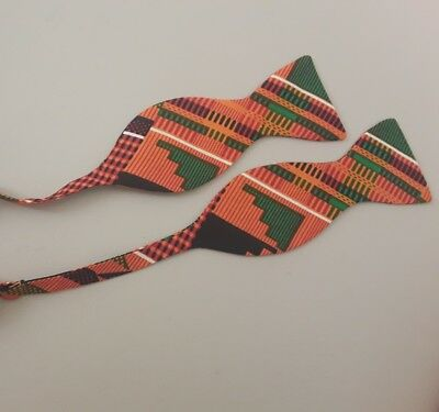 Kente Design (Kente  bow tie kente design african print freestyle self tie  bowtie UK handmade)