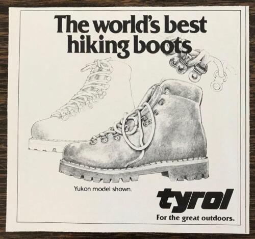1980 Tyrol Hiking Boots Yukon Model Print Ad For the Great Outdoors