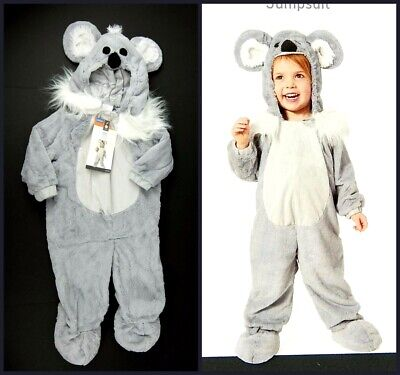 Koala Costume One-Piece Hooded Jumpsuit Gray White Halloween Size 18-24 Months - 24 Months Halloween Costume