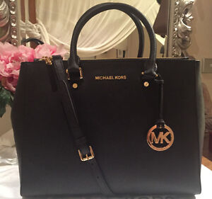 NWT AUTHENTIC Michael Kors LARGE BLACK SUTTON Saffiano Satchel Bag EXPRESS POST