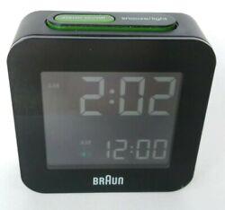 Braun BNC008BK Black LCD Quartz Digital Square Alarm Clock with Snooze