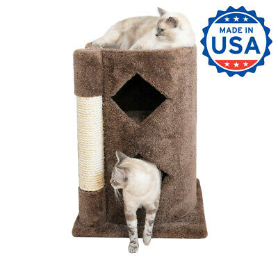 Wood Cat Furniture Sisal Rope 31 inch Two Story Cat Condo with Scratching Post ()