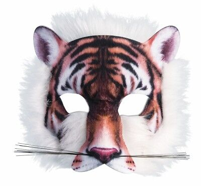 Tiger Mask 3D Screen Print Realistic Look Soft Face Mask Fun Fur Adult Or Child](Kids Halloween Tiger Face)