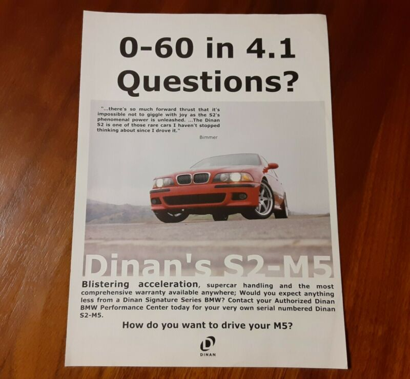 DINAN FOR BMW MAGAZINE ADVERTISEMENT E39 S2-M5 BLISTERING PERFORMANCE