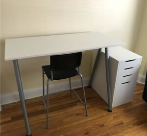 IKEA desk, chair, and drawers