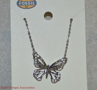 Fossil Brand Shiny Silver Tone Clear Crystal Butterfly Cut-Out Pendant Necklace Cut Out Butterfly Pendant