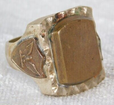 1940s Jewelry Styles and History VTG 1940's Men's MEXICO EAGLE SILVER BRASS BIKER RING sz 10 1/2 $99.99 AT vintagedancer.com