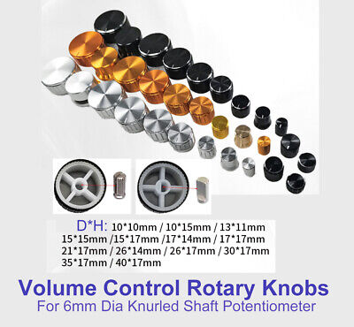 Al Alloy Volume Control Rotary Knobs For 6mm Dia Knurledd Shaft Potentiometer