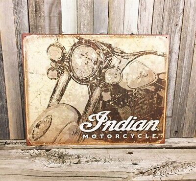 Indian Motorcycle Chief Eagle Ride Metal Tin Sign Vintage Rustic Garage New