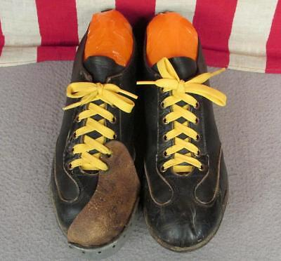 Vintage 1950s Schwarzes Leder Baseball Stollen Schuhe Kannen Zehenkappe Sz.6 ()