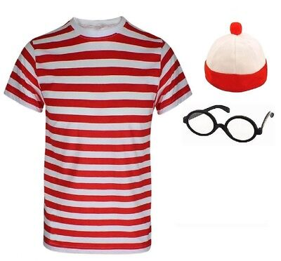 Kinder Jungen wo Ist Nerd Rot & Weiß Gestreift T-Shirt Geek Welttag des - Nerds Kostüm Kinder