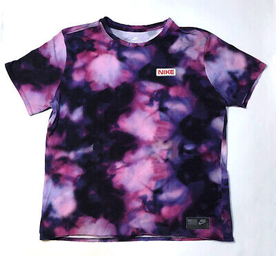 NIKE Air Tie Dye Purple T-Shirt L Large Lavender Pink Tee Stargazers NASA Logo Air Purple Tee