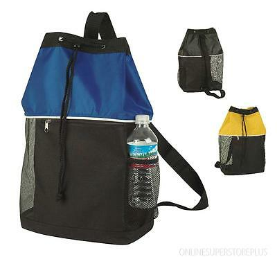 Drawstring Backpack Sack with Mesh Sides and Front Pocket (3 -