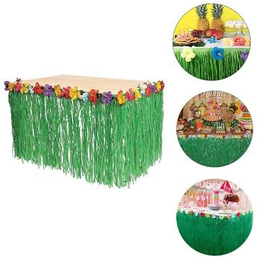 9ft Hawaiian Luau Green Artificial Table Grass Flower Skirt Party - Hawaiian Grass Table Skirts