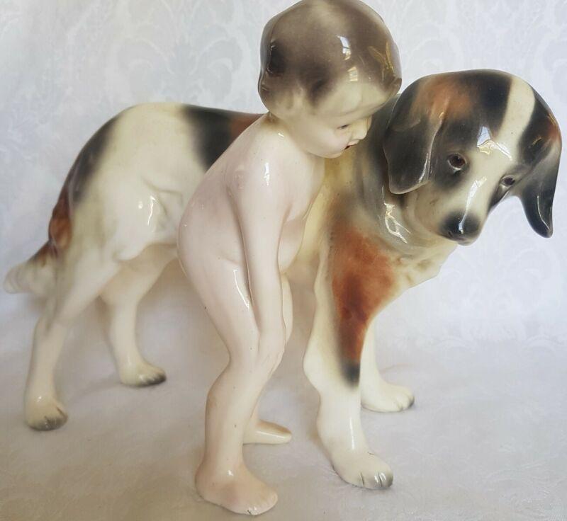 LARGE ANTIQUE ART DECO GOLDSCHEIDER PORCELAIN CHILD W/ ST.BERNARD DOG FIGURINE