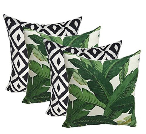 Set of 4 Decorative Throw Pillows Swaying Palms Green Leaf+B