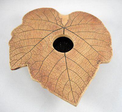 "Malabar Pottery Leaf Shaped Flower Frog Vase Handmade Florida 6 1/2"" x 7"""