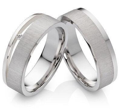 Verlobungsringe Eheringe Antragsringe Trauringe aus Silber mit Diamant  PSB315