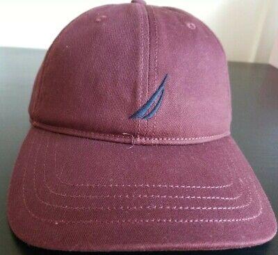 Nautica Anchor Hat Men One Size OSZ Baseball Cap Royal Burgundy
