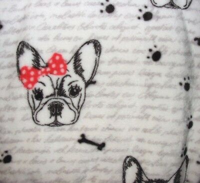 French Bulldog Dog with Glasses & Bows Plush Throw Blanket - Polyester 50 x 70