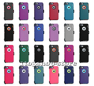"""iPhone 6 Plus & iPhone 6s Plus 5.5"""" Defender Hard Shell Case w/Holster Belt Clip"""