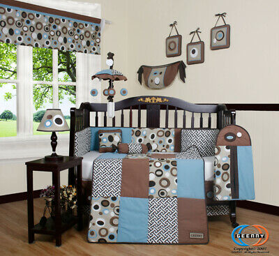 13PCS Blue Brown Scribble  Baby Nursery Crib Bedding Sets - Holiday Special