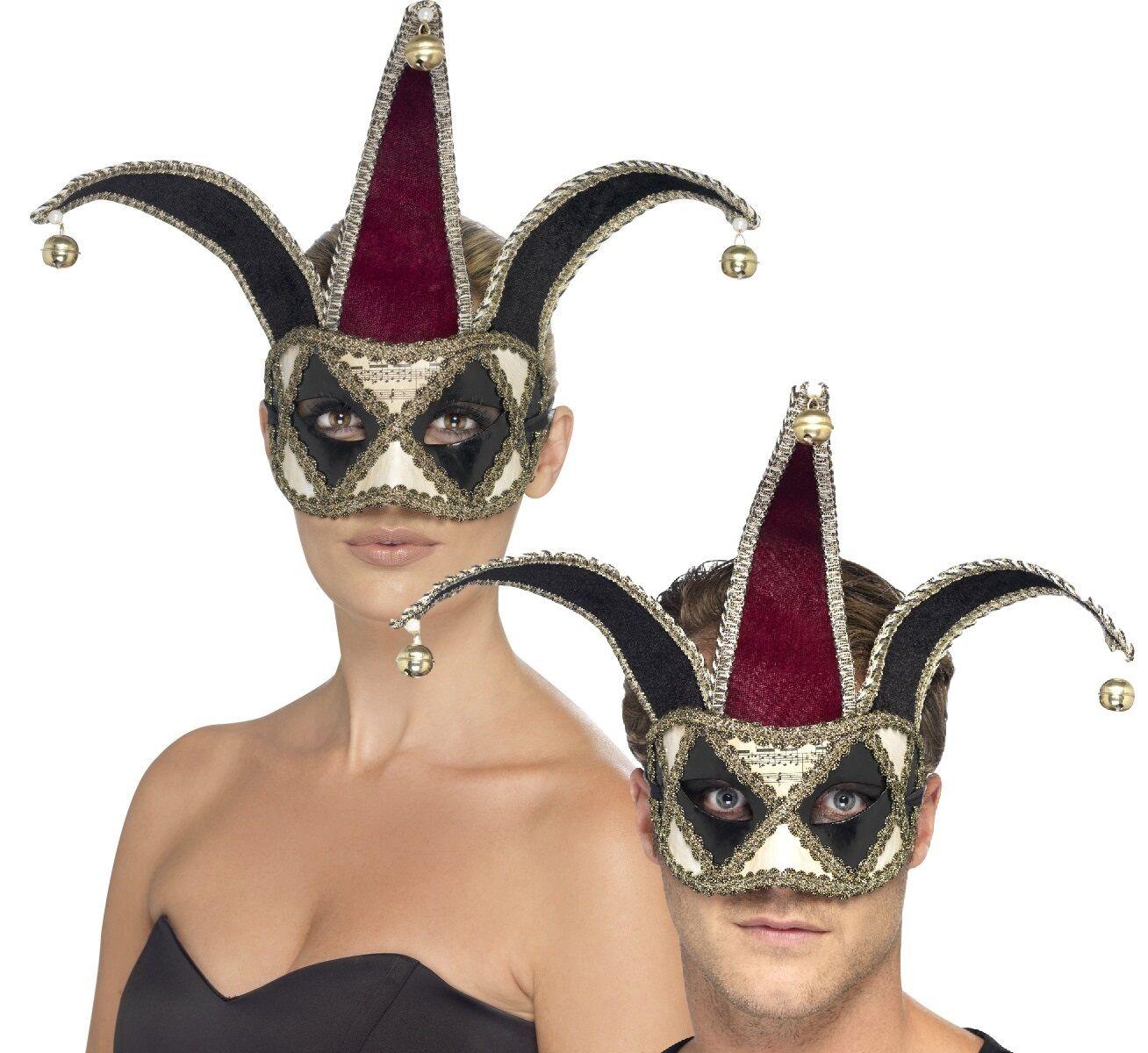 Mens Gothic Venetian Jester Medieval Carnival Halloween Fancy Dress Costume