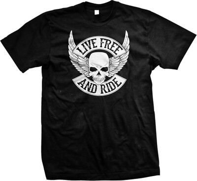 (Live Free and Ride Skull with Wings- Chopper Biker Motorcycle Mens T-shirt)