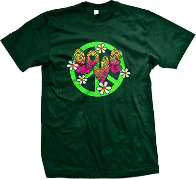 Love Peace Sign Flower Child Hippie Heart  3 Psychedelic Colors Be Mens T Shirt