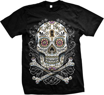 Sugar Skull And Cross Bones Tattoo Designs Day of the Dead Flash- Men's T-shirt](Day Of The Dead Tattoos)