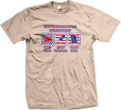 How To Celebrate Fourth Of July Grill Meat Fireworks Drunk BBQ USA Men's T-Shirt ()