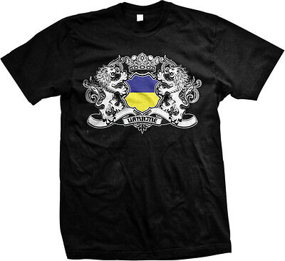 Country Flags T-shirt - Ukrainian Country Flag Crest - Ukraine Nationality  Mens T-shirt