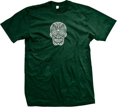 Skull Floral Sugar Outline Heart Dia De Los Muertos Day Dead Dots Men's T-Shirt